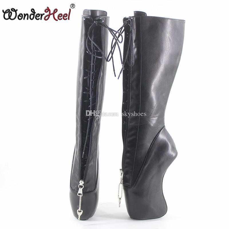 Wonderheel new extreme high heel 18cm curved heel YKK locked zipper matte black sexy fetish inner lacing knee high ballet boots