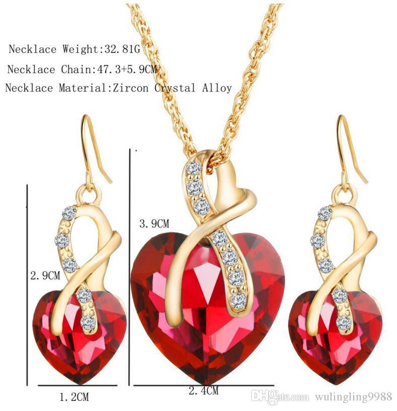 Women Necklace Stud Earrings Set Bridal Jewelry Heart Shaped Zircon Necklace