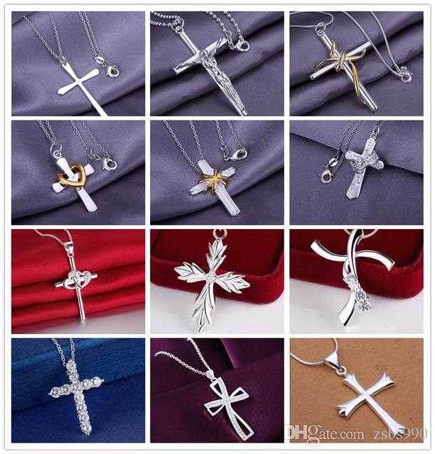 Alta calidad 925 Plata Cross Colgante Collar Collar de moda Regalo de Navidad Regalo de Navidad Pedido mixto envío gratis 12pcs / lot