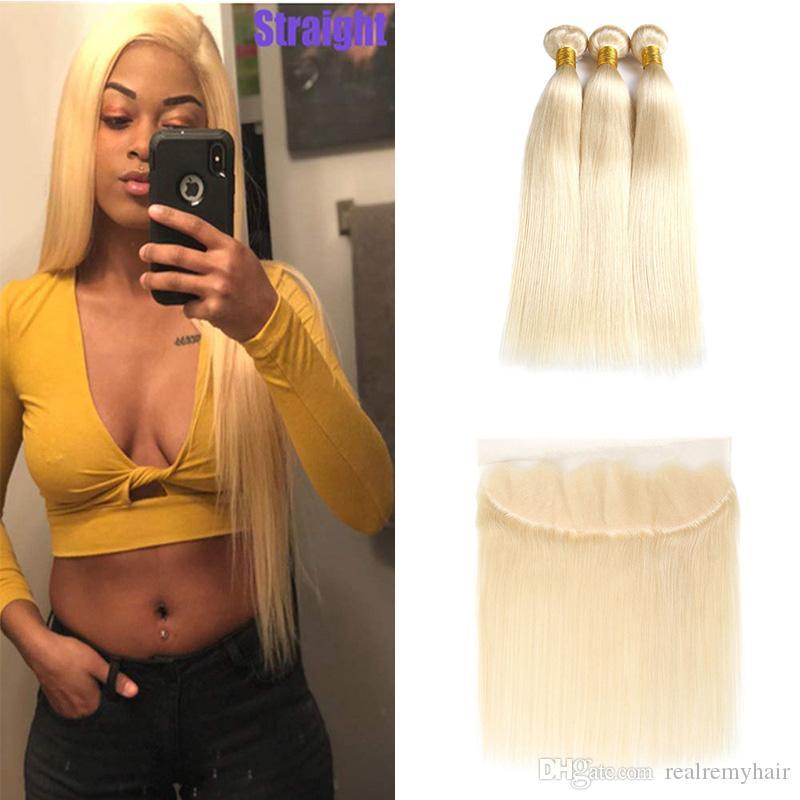 Vente en gros 613 Bundles blonds avec fermeture frontale oreille à l'oreille de la soie brésilienne droite Vierge Human Hair Heang Heang pleine et épaisse avec frontale