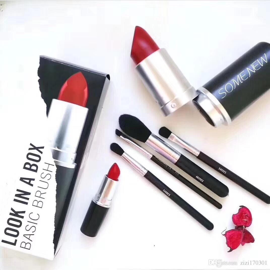 new Makeup Brand Look In A Box Basic Brush 4pcs/set brushes set with Big Lipstick Shape Holder Makeup TOOLS good item