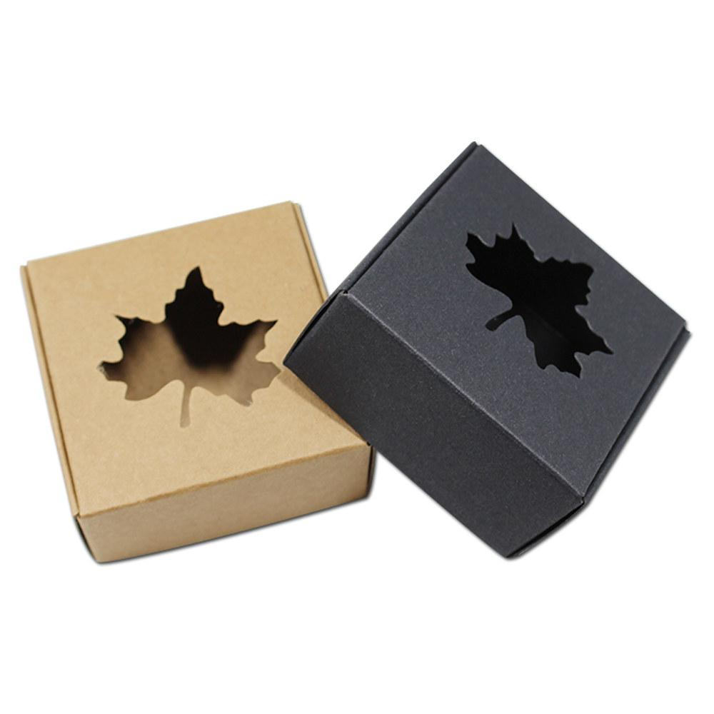 50pcs Square Kraft Paper Gift Packaging Carton Boxes Maple Leaf Clover Dolphin Hollow Out Soap Craft Cosmetic Wedding Party free shipping