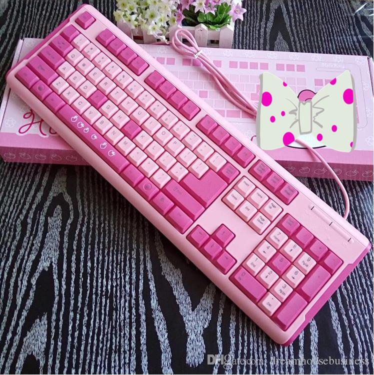 Factory Direct Supply Fashion Cartoon Pink Designer USB Wired Keyboards with Gift Mouse Pad For Computer PC Laptop Desktop
