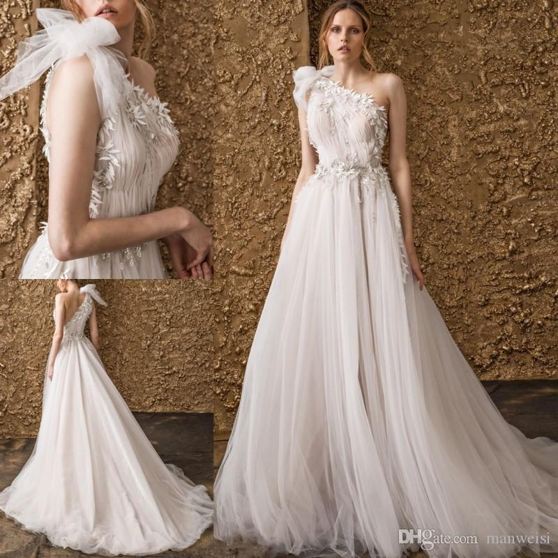 Discount Nurit Hen 2018 One Shoulder Wedding Dresses Bohemia Sexy