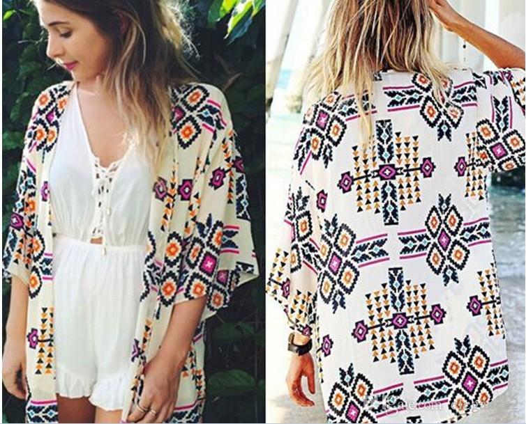 Frauen Boho Floral lose Schal Kimono Cardigan Chiffon Jacke Mantel Bluse S XL