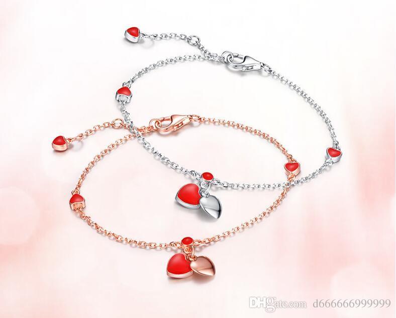 S925 Sterling Silver small red heart drop glue Bracelet