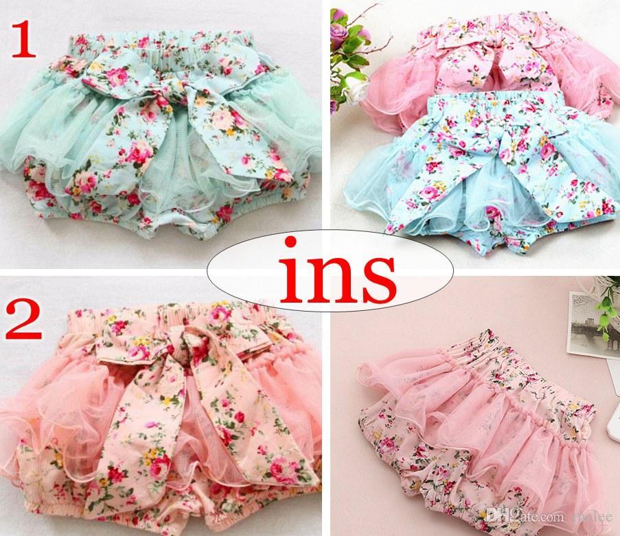 여름, 여자 아기, 아이, pettiskirt, 스커트, 코튼, 빈티지, 꽃, 짧은, 바지, 반바지 Bowknot, legicting, bloomers, pink blue, 2colors