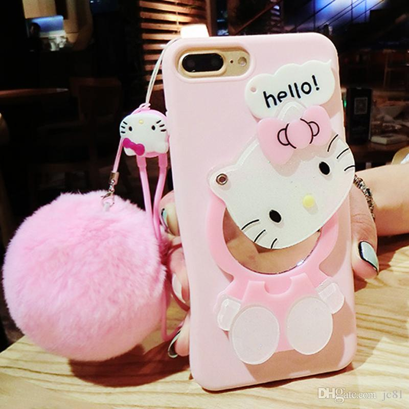 81b5e8511 Cute 3D Hello Kitty Cat Cartoon Case For Iphone X 7Plus Soft TPU Back Cover  Makeup Mirror Hang Rope With Fur Ball Case Cell Phone Pouches Customized  Cell ...