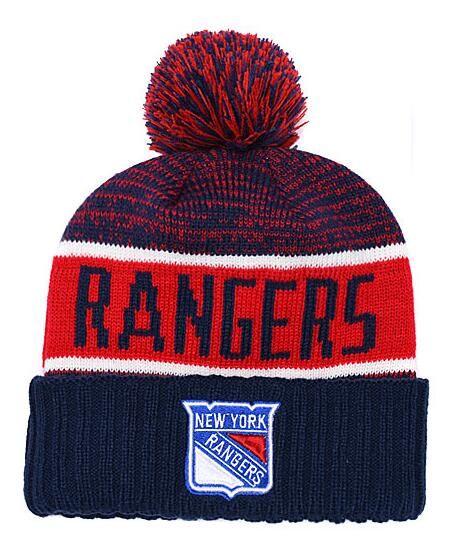 New Berretti NY Rangers Hockey 2018 Hot Knit Beanie Pom Knit Hats Blue Baseball Calcio Basket Berretti sportivi Mix Match Ordine Tutti i tappi
