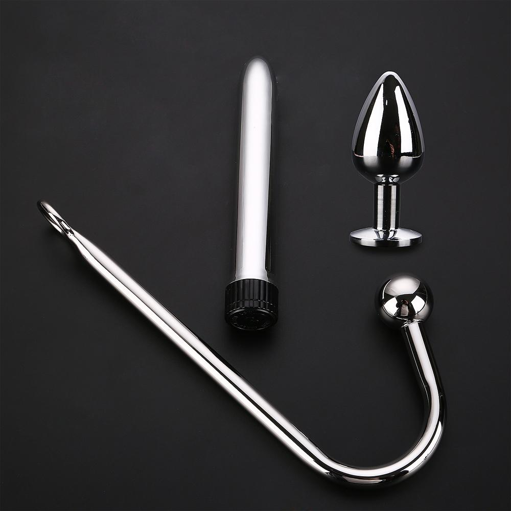 Metal Stainless Steel Anal Plug Vibrator 3 Pcs/Set Anal Hook Vibrator Sex Toys for Woman Anal Stimulator Sex Gay Toy for Men Y18102006