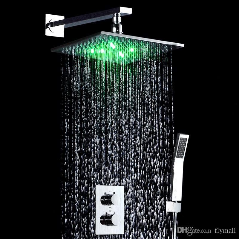 """10"""" LED Light Shower Mixer Set Thermostat Faucet Shower Bathroom Shower Head Powered by Water Square Saving Water Chromed Spout"""