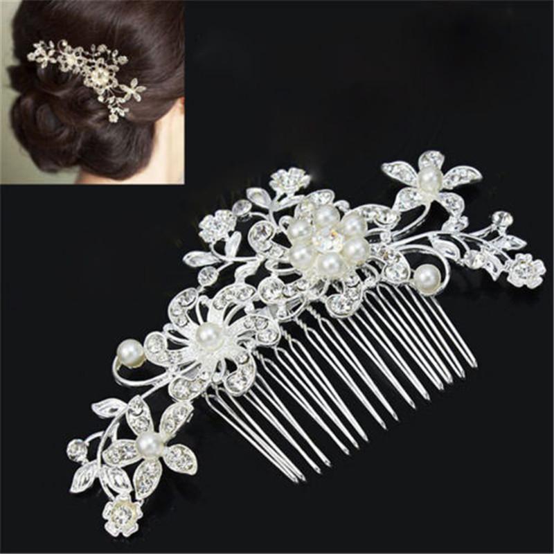Women Girls Crystal Flower Hair Comb Hairpin Clip Hair Bridal Decor Wedding