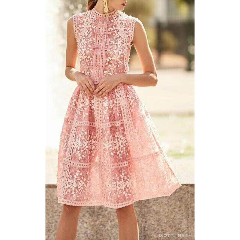 RED ROOSAROSEE Europe And America 2018 Summer New Round Collar Sleeveless Lace Patchwork Three-dimensional Flower Fashion Dress