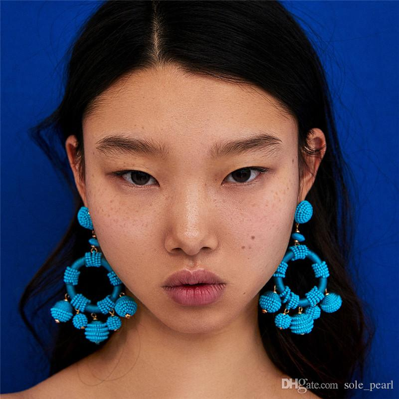 Beads drop Earrings for women 2018 fashion Luxury boho personality Multilayer hand made Woven Dangle earrings Vintage Jewelry wholesale