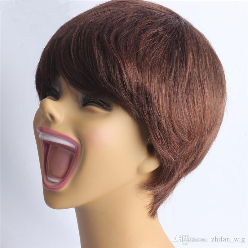 Z&F Dark Brown 25CM Shot Nature Straight Human Hair Wigs Lace Wig All Hand Made Wig For Women