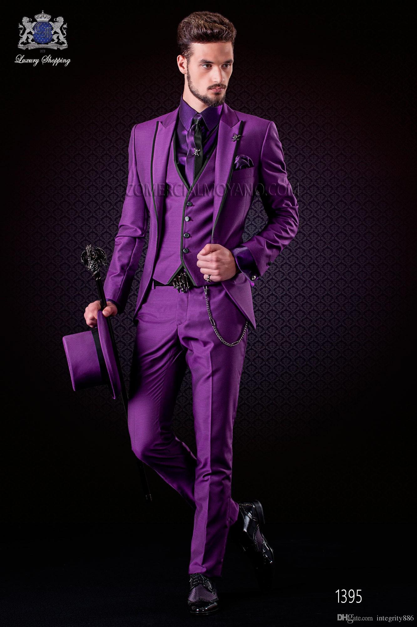 Moda Roxo Homens 3 Peça Terno Do casamento Smoking Excellent Groom TuxeDos com pico lapela um botão homens blazer (jaqueta + calça + gravata + colete) 468