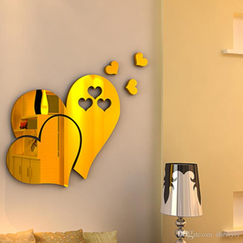 3d Stereoscopic Heart Shaped Wall Decal Sticker Adorable Diy Home ...