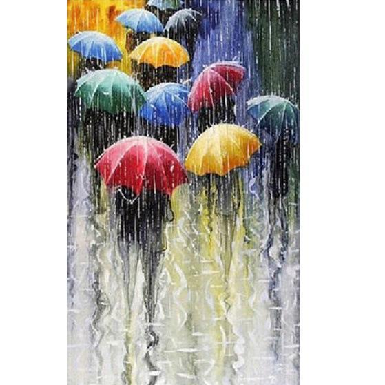 Diy diamant peinture kit point de croix strass plein carré diamant broderie paysage maison mosaique décoration pluie parapluie
