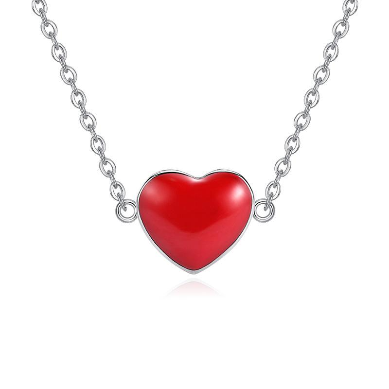 100% 925 sterling silver romantic red love heart ladies`pendant necklace jewelry women short chain drop shipping no fade