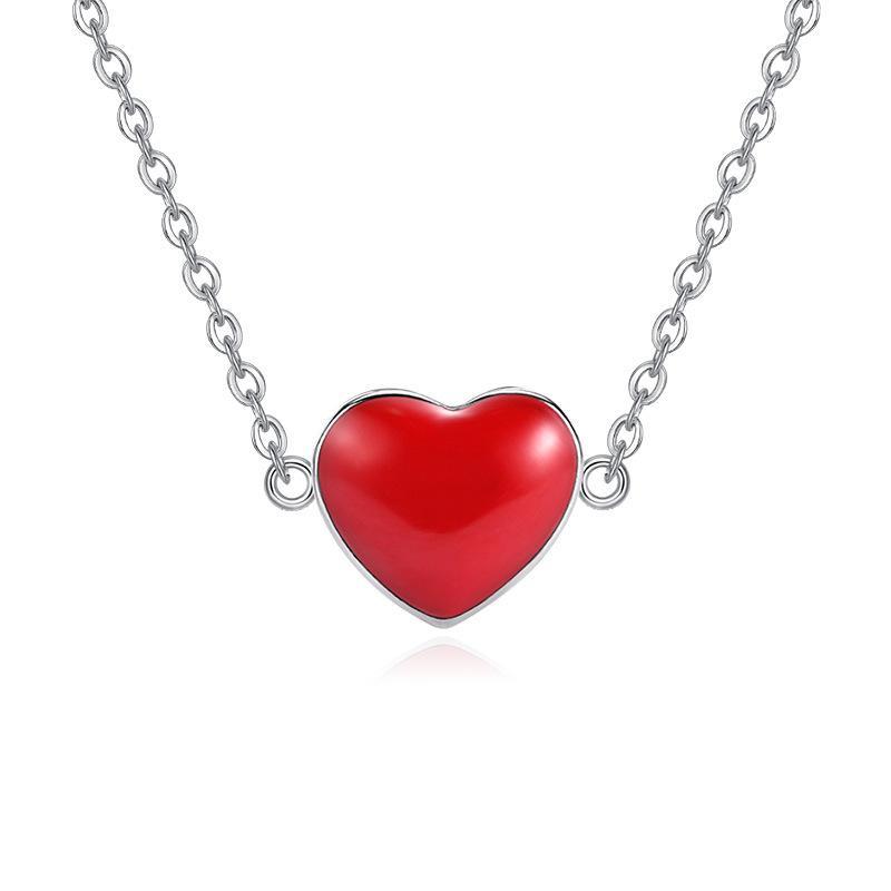 100% 925 sterling silver romântico amor vermelho coração ladies'pendant colar de jóias mulheres curto cadeia de transporte da gota não se desvanece