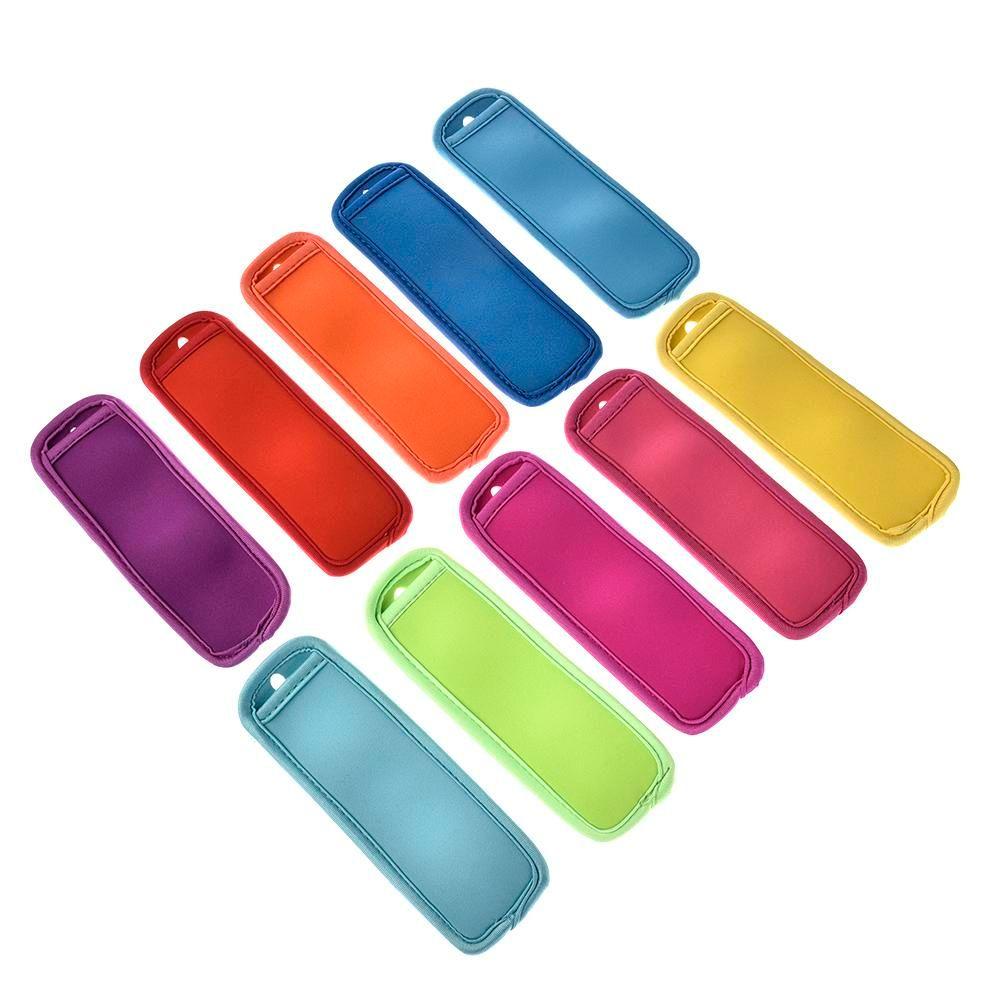 10 Pcs Colorido Titulares Picolé Pop Ice Congelador Geladeira Reutilizável Verão Gelado Bloco Lolly Creme Titular Para Crianças