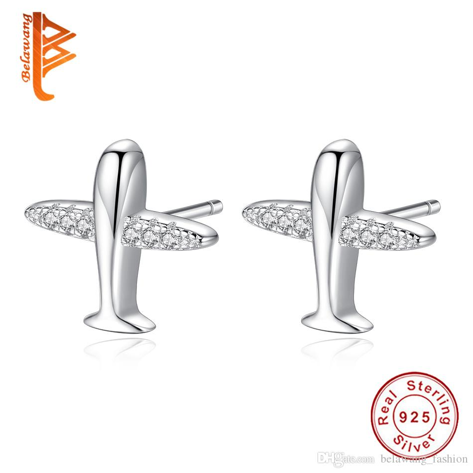BELAWANG Free Shipping For Women Cartoon Airplane Stud Earring With Cubic Zircon 925 Sterling Silver Fashion Jewelry Birthday Party Gift