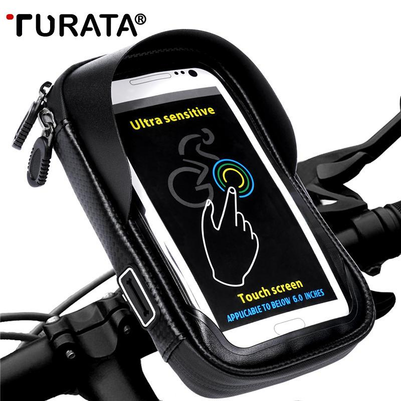 TURATA Phone Holder Universal Bike Mobile Support Stand Waterproof Bag For iPhone X 8 Plus S8 V20 GPS Bicycle Moto Handlebar Bag C18110801