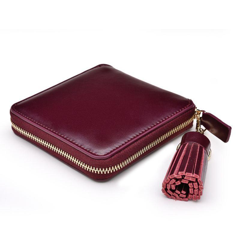 Luxury Tassel Real Split Leather Square Women Wallet Fashion Designer Wine Red Clutch Girl Purse Money Coin Card Holder Carteras