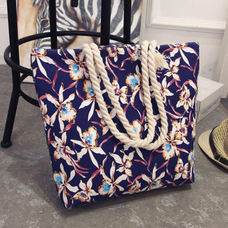 Women New Summer Canvas Bohemian Style Striped Shoulder Beach Bag Female Casual Tote Shopping Big Bag Floral Messenger Bags