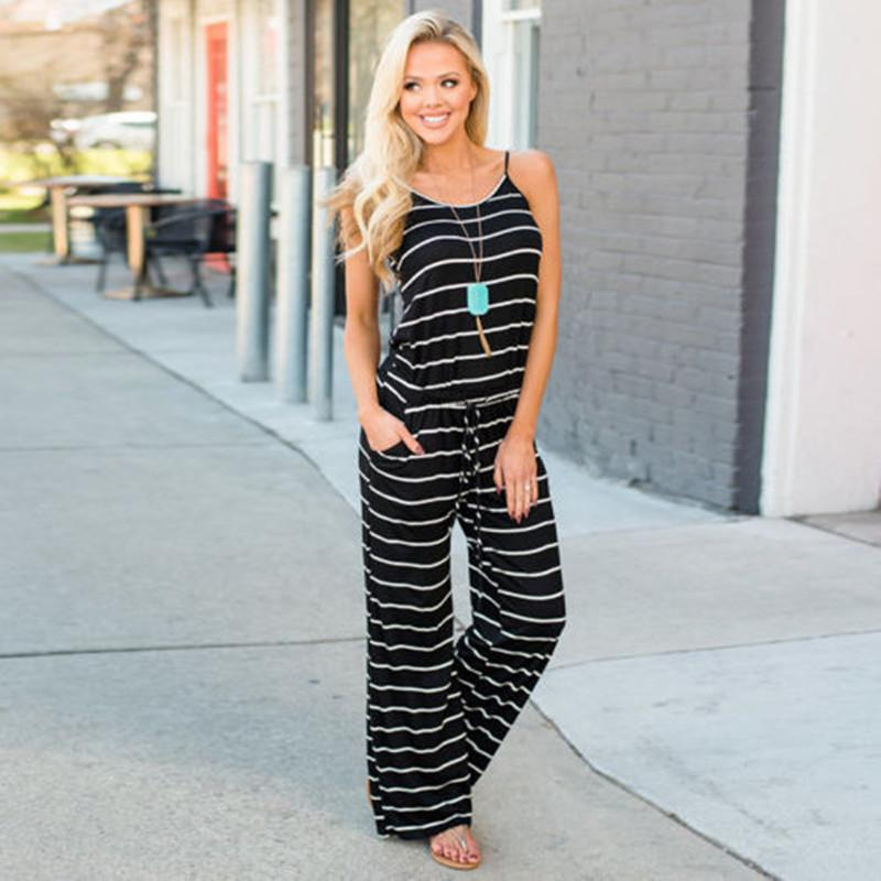 Spaghetti Strap Striped Rompers Women Jumpsuit Strapless O-neck Sleeveless Loose Jumpsuit 2018 Summer Casual Army Green