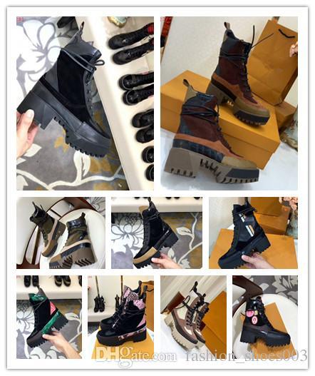 De luxe Top Marque Femmes Martin Cheville Bottes en Noir Chunky Talon Plate-Forme Chevalier Moto Vache En Cuir Designer Bottes Taille 35-42