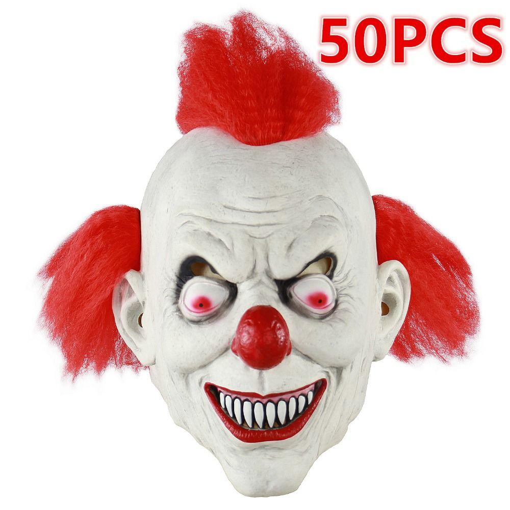 Maschera It Pagliaccio.Acquista 50 Pz Tv Maschera Pagliaccio Spaventoso Maschera Joker Full Face Horror Maschera Divertente Halloween Party