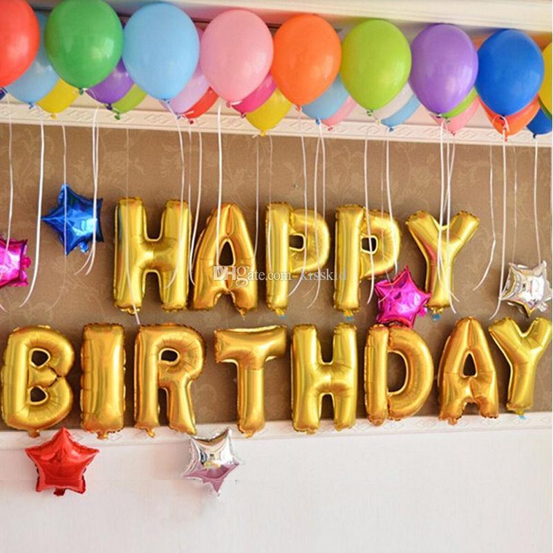 16Inch Happy Birthday Aluminium Film Ballons Geburtstag Party Dekoration Farben Ballon Gold Silber 13 Stücke / Satz Großhandel Freies Verschiffen