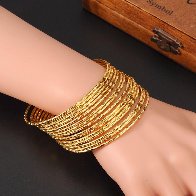 Intero Salesuper 24k Gold Donne Gold Big Dubai Bride Bracciale Etiope Africa Bangle Bangle Gioielli Arabi CharmGirls India Regali