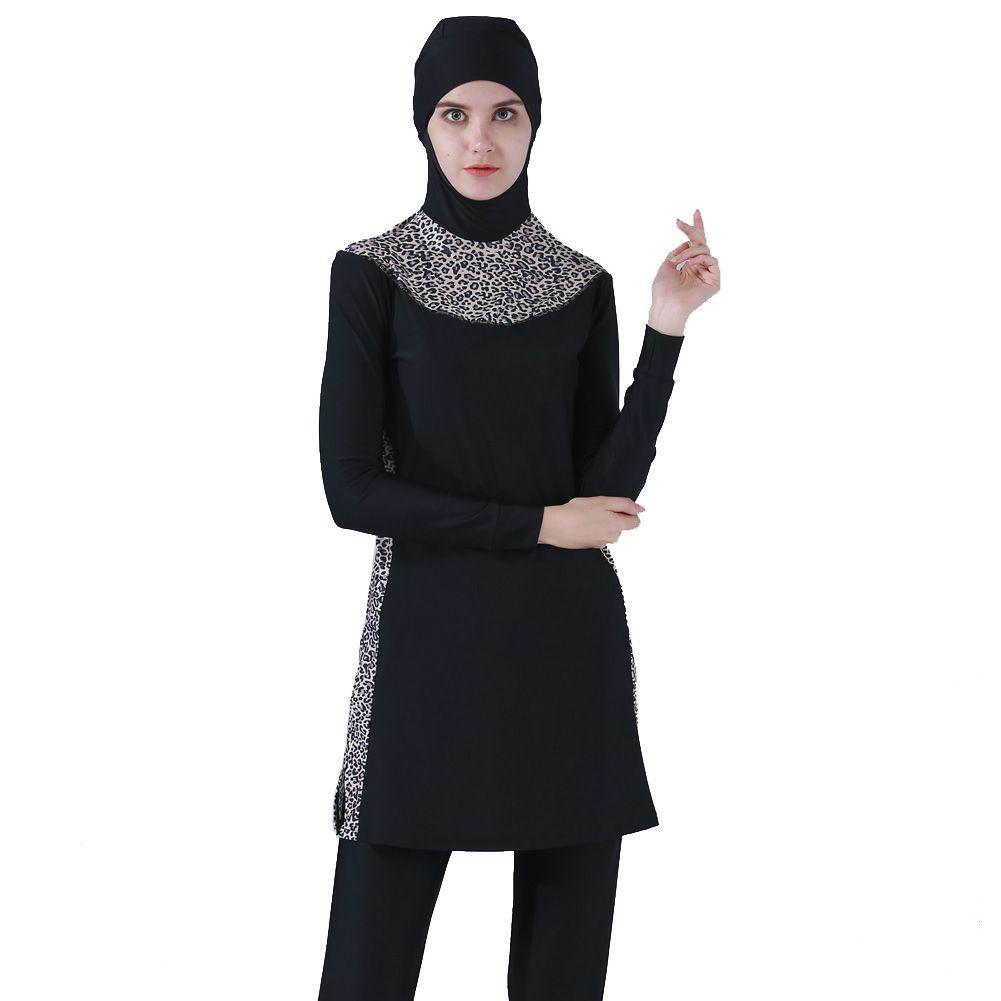 Costume da bagno musulmano completamente coperto Moderna hijab Costume da bagno islamico Burkinis musulman Spiaggia da nuoto Plus Size