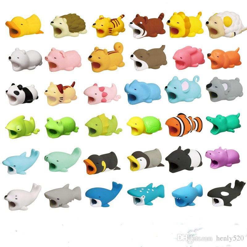 36styles Cable Bite عضة حيوان كابل حامية الإكسسوار اللعب لدغات كابل الكلب خنزير الفيل axolotl آيفون الذكي