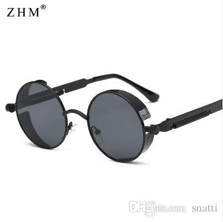 Gafas de sol redondas de Steampunk del metal Hombres Mujeres Gafas de moda Diseñador de la marca Marco retro Gafas de sol de la vendimia de alta calidad UV400