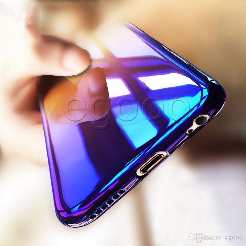 Ultra slim farbverlauf ändernden fall harte pc abdeckung für iphone xr xs max x 8 7 6 6 s 5 5 s se plus samsung s8 s9 plus hinweis 8 9