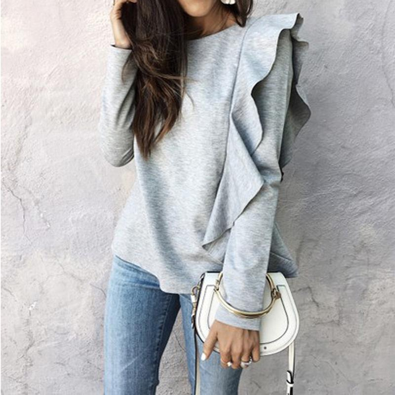 Fashion Women Casual T-Shirts Long Sleeve Tees Ladies Grey Pullover Cotton Tops Lotus leaf T Shirts