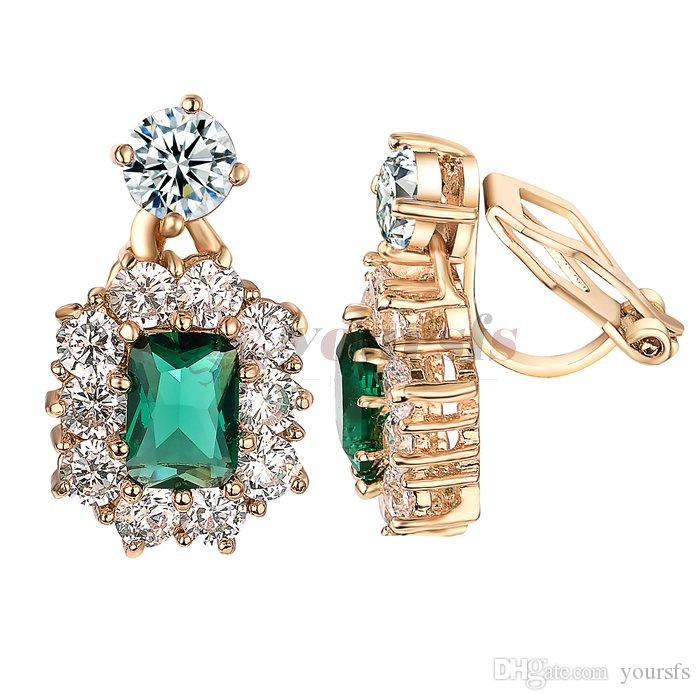 Yoursfs Clip on Earrings For Women wedding Birdal 18K Rose/White Gold Plated Non Pierced Ears