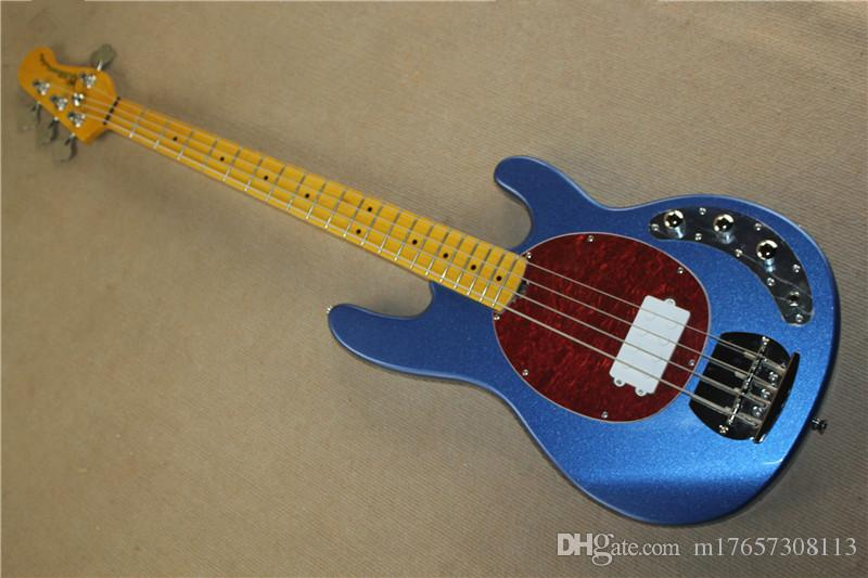 Sting Ray Bass 4 corda elétrica Bass metal azul piano corpo vermelho pérola protetor branco pick-up
