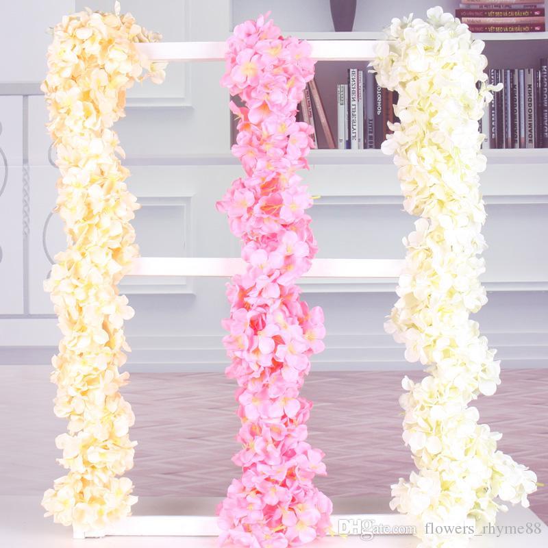 fleurs en soie artificielle hortensia Wisteria guirlande décoration de mariage fête vigne guirlandes en soie fausses fleurs soie glycine guirlande murale
