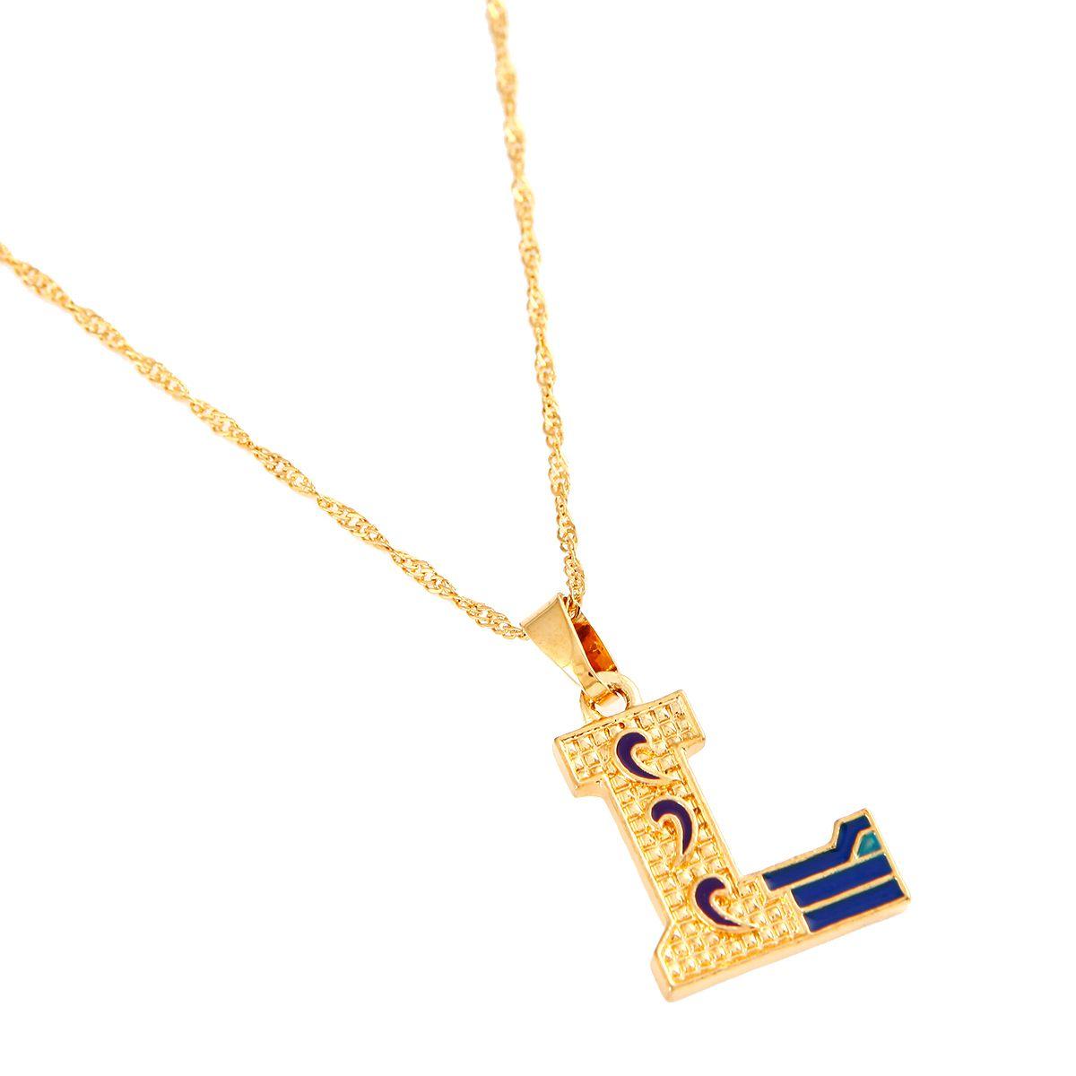 Collier avec pendentif lettre Initital or bleu émail Collier avec lettre majuscule L