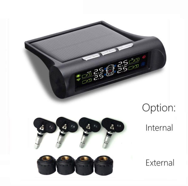 Smart Car TPMS Tyre Pressure Monitoring System Display 4 Internal / External Sensor Solar Power charging Digital LCD Display Auto Security