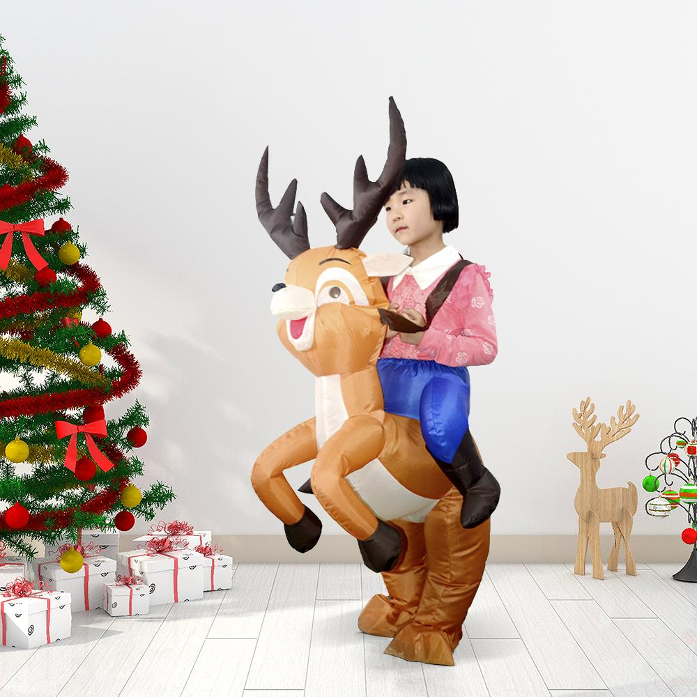 Christmas Decor for Kid Reindeer Inflatable Costume Suit Blow Up Inflatable Dress Jumpsuit for Dress Up Party Inflatable Costume