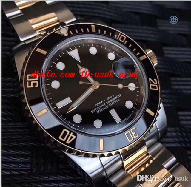 명품 시계 베스트 18K 랩 골드 남성 자동 시계 세라믹 베젤 2836 무브먼트 데이 남자 다이브 스포츠 시계