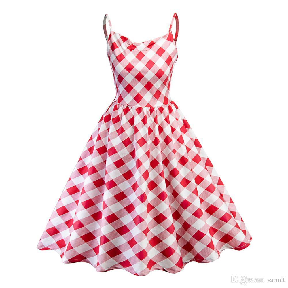 nueva llegada 46283 084d3 Compre Vestidos Vintage De Hepburn Para Mujer Vestido Barato De Los Años 60  Vestido Estilo Escocés Midi Estilo Escocés Moda F0639 Strip Shoulder A ...