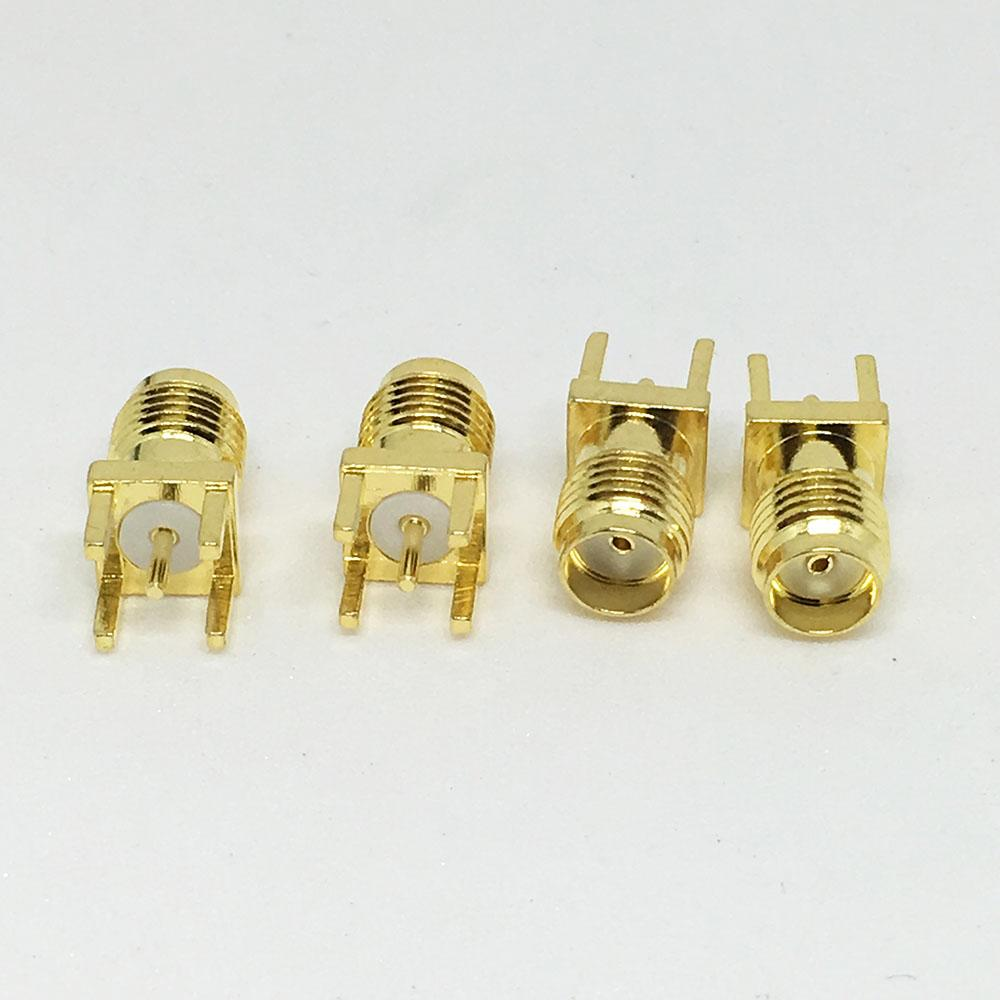 Gold PCB Mount SMA Female Plug Straight RF Connector Adapter Jack Panel Mount Through Hole Vertical