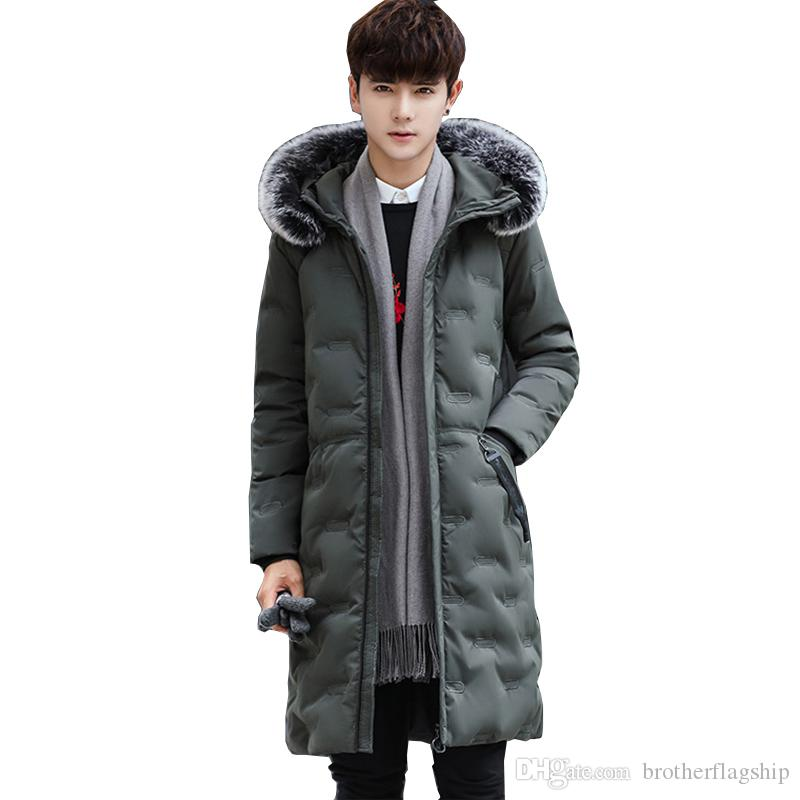 Men's Down New Winter Jacket for men hooded coats Mens Parka Thick warm coat mens slim casual cotton padded down Outerwear