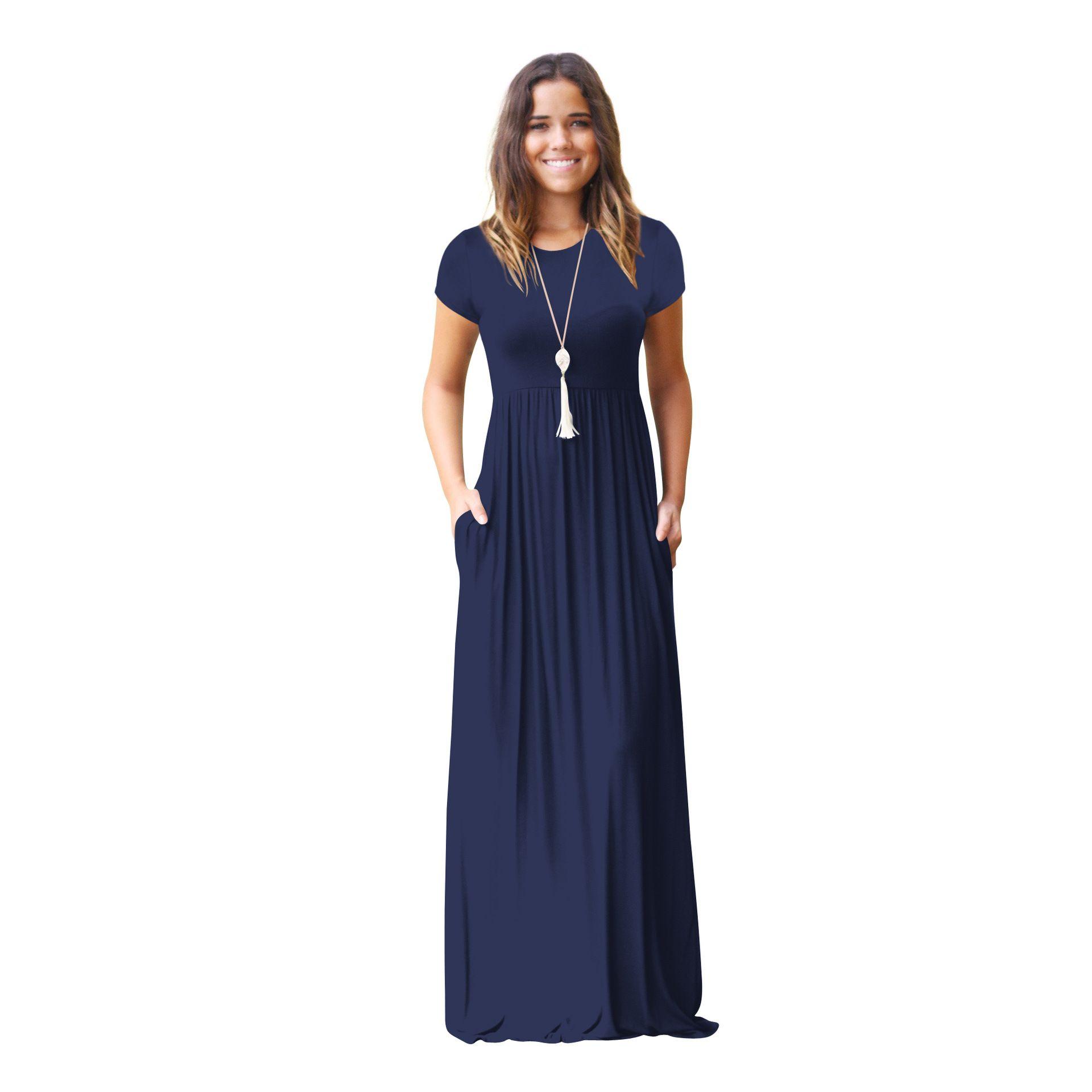 Yaz Uzun Maxi Elbise 2018 Yeni Kısa Kollu Katı Casual Kadınlar Cepler Elbiseler Artı Boyutu 2XL Robe Yaz Elbiseler Robe